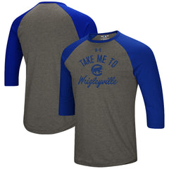 Men's Chicago Cubs Under Armour Heathered Gray/Royal Heritage Tri-Blend Raglan 3/4- Sleeve T-Shirt