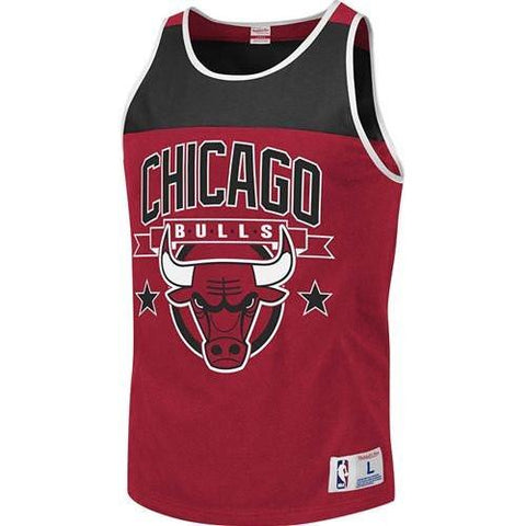 Men's Chicago Bulls Red Mitchell & Ness Red Color Blocked Tank Top