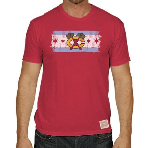 Men's Chicago Blackhawks Red Tomahawk City Flag Textured Tri Blend Tee