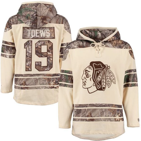Men's Chicago Blackhawks Jonathan Toews Old Time Hockey Stone Realtree Lacer Name and Number Hoodie