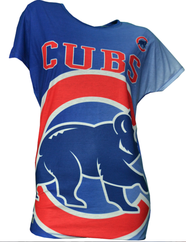 Womens Chicago Cubs Drop Shoulder Dynamic Short Sleeve Top