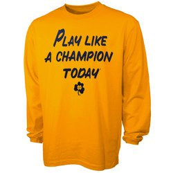 Men's Notre Dame Play Like A Champion Today Gold Long Sleeve Tee