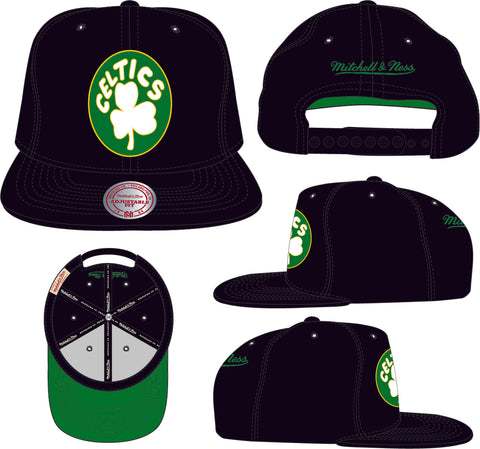 Boston Celtics NBA Mitchell & Ness Core Black Snapback Hat