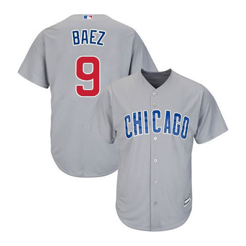 Men's Chicago Cubs Javier Baez Majestic Gray Road Cool Base Player Jersey