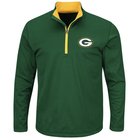 "Green Bay Packers Majestic NFL ""Scoreboard"" Mens 1/2 Zip Lightweight Sweatshirt"