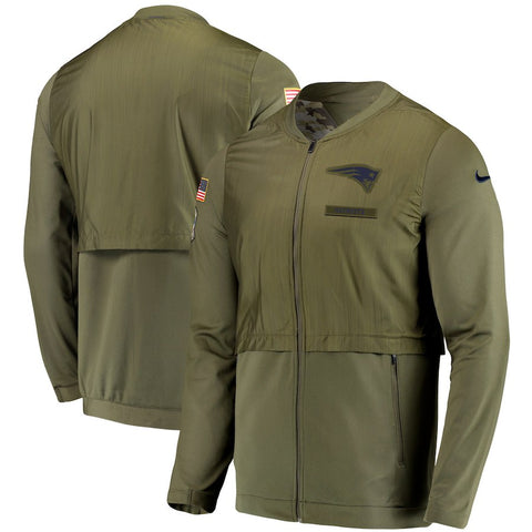 New England Patriots Nike Salute to Service Sideline Elite Hybrid Full-Zip Jacket – Olive