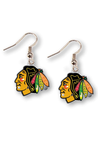 Chicago Blackhawks Logo Dangler Womens Earrings
