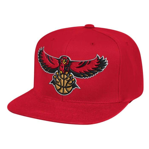 Mens NBA Atlanta Hawks Red Team Ground Snapback Hat By Mitchell And Ness