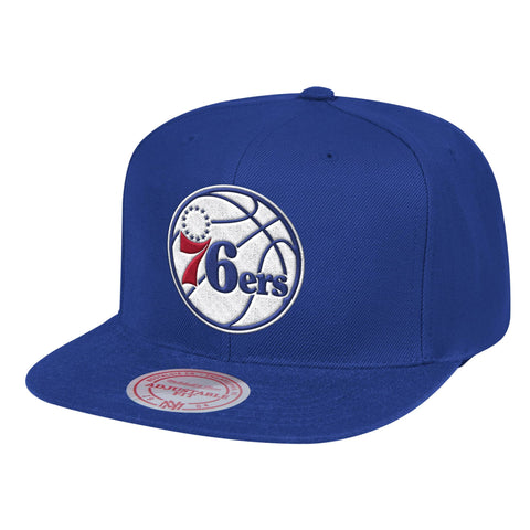 Mens NBA Philadelphia 76ers Royal Team Ground Snapback Hat By Mitchell And Ness