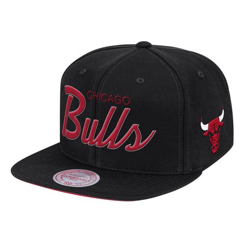 Mens NBA Chicago Bulls Primary Logo Black Foundation Script Snapback Hat By Mitchell And Ness