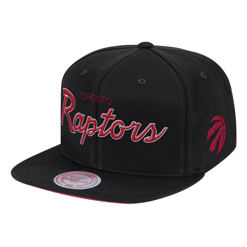 Mens NBA Toronto Raptors Black Foundation Script Snapback Hat By Mitchell And Ness