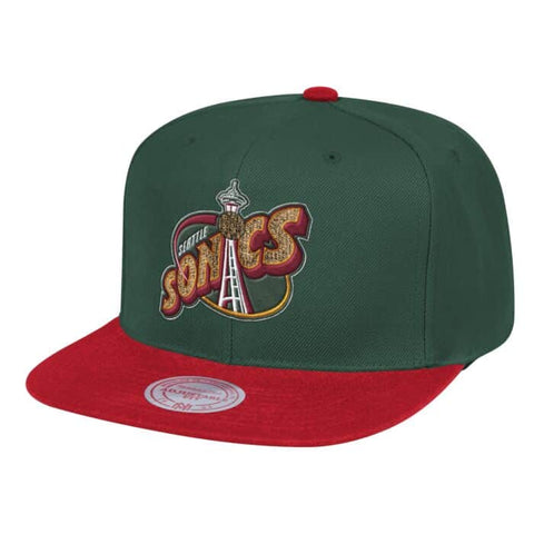 Mens NBA Seattle SuperSonics Wool 2 Tone Snapback Hat By Mitchell And Ness