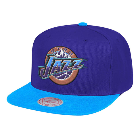 Mens NBA Utah Jazz Purple/Teal Wool 2 Tone Snapback Hat By Mitchell And Ness