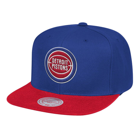 Mens NBA Detroit Pistons Royal/Red Wool 2 Tone Snapback Hat By Mitchell And Ness