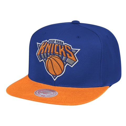 Mens NBA New York Knicks Blue/Orange Wool 2 Tone Snapback Hat By Mitchell And Ness