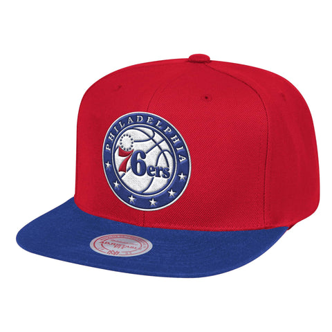 Mens NBA Philadelphia 76ers Red/Royal Wool 2 Tone Snapback Hat By Mitchell And Ness
