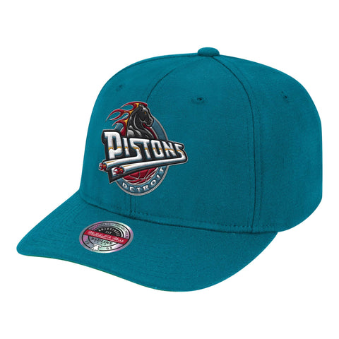 Mens NBA Detroit Pistons Teal Team Ground Stretch Snapback Hat By Mitchell And Ness