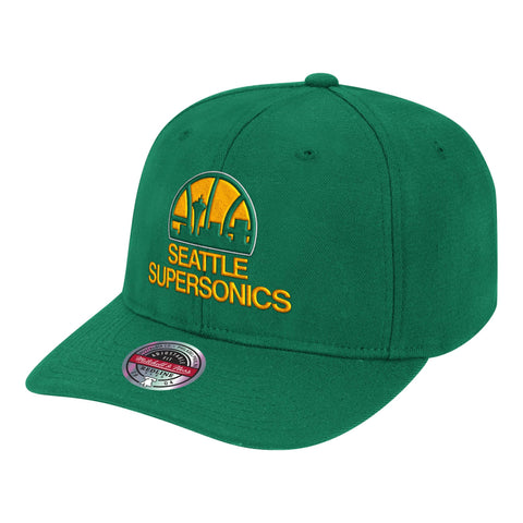 Mens NBA Seattle SuperSonics Kelly Green Team Ground Stretch Snapback Hat By Mitchell And Ness
