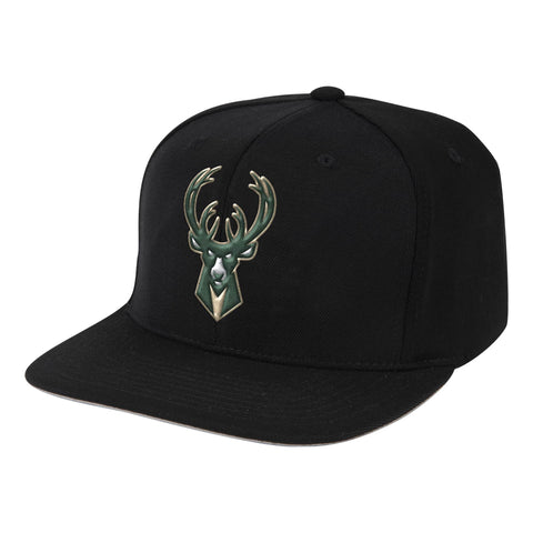 NBA Milwaukee Bucks Black Downtime Classic Redline Snapback Snapback Hat By Mitchell And Ness