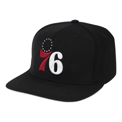 NBA Philadelphia 76ers Black Downtime Classic Redline Snapback Snapback Hat By Mitchell And Ness