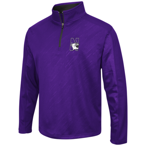 Men's Northwestern Wildcats Performance Fleece Full Zip 1/4 Zip Track Jacket By Colosseum Athletics