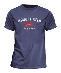 Men's Wrigley Field Brushcraft Est. Flag Short Sleeve Tee-Heather/Navy