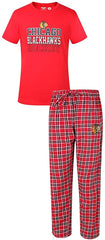 Chicago Blackhawks Two Piece Medalist Tee & Pajama Set Concepts Sport