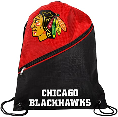 Chicago Blackhawks NHL High End Diagonal Zipper Drawstring Backpack