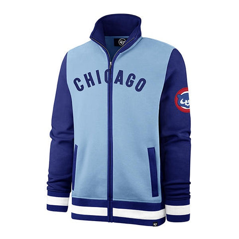 '47 Brand Mens MLB Chicago Cubs Cooperstown Collection Baby Blue Carolina Heritage Iconic Track Jacket