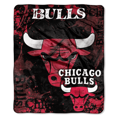 Chicago Bulls Blanket 50x60 Raschel Drop Down Blanket