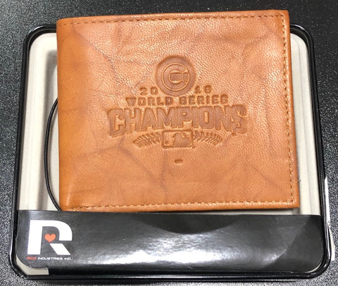 Chicago Cubs 2016 World Series Champions Genuine Leather Tan Bifold Wallet
