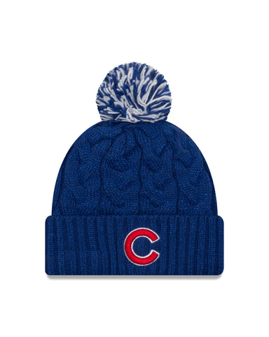 Women's Chicago Cubs New Era Royal Cozy Cable Cuffed Knit Hat With Pom