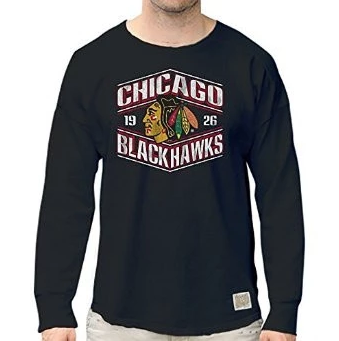 Men's Chicago Blackhawks Retro Brand Black Worlds Best Long Sleeve Tee