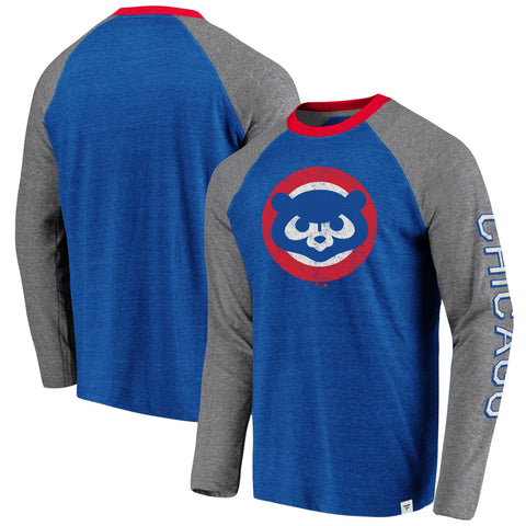 Men's Chicago Cubs Fanatics Branded Royal/Gray True Classics Long Sleeve Raglan T-Shirt
