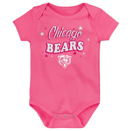 Newborn/Infant Girls Chicago Bears Pink My Team Short Sleeve Creeper