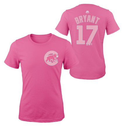 Youth Girls MLB Chicago Cubs Kris Bryant Pink Name And Number Short Sleeve T-Shirt