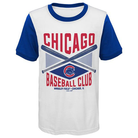 Youth MLB Chicago Cubs Cream/Royal America's Pastime Ringer T-Shirt