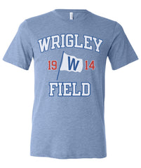 "Chicago Cubs Wrigley Field with ""W"" Flag Triblend Tee-Baby Blue"