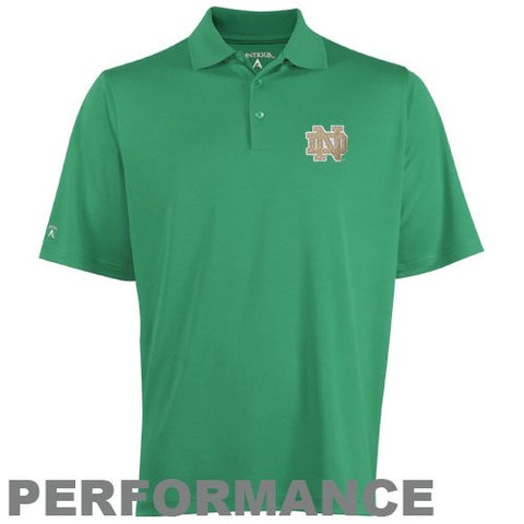 NCAA Antigua Notre Dame Fighting Irish Pique Xtra-Lite Performance Polo - Green