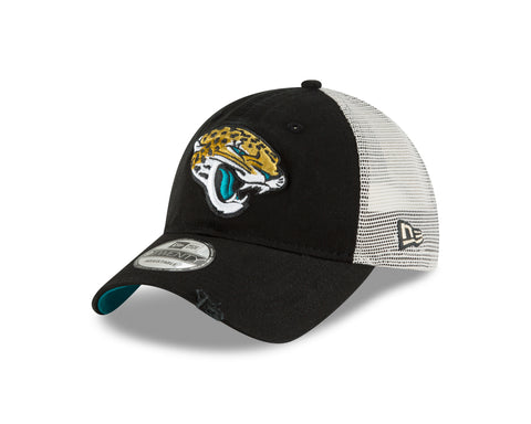 Men's Jacksonville Jaguars New Era Stated Back Trucker 9FORTY Adjustable Snapback Hat