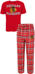 Chicago Blackhawks Two Piece Tiebreaker Tee & Pajama Set Concepts Sport
