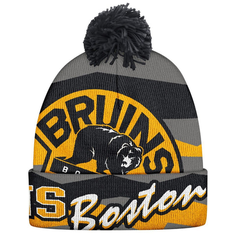 NHL Boston Bruins Men's Face-Off Cuffed Pom Knit Cap, One Size, Gray