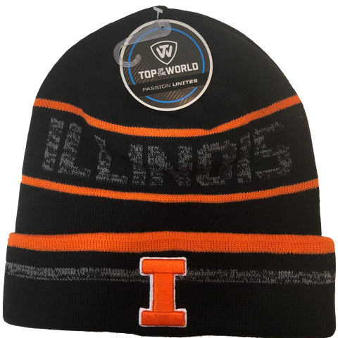 Illinois Fighting Illini NCAA Top of the World Effect Cuffed Black Knit Hat