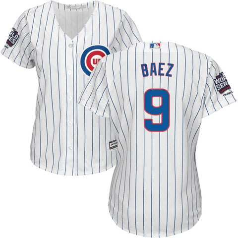 Women's Chicago Cubs Javier Baez Majestic White 2016 World Series Champions Home Replica Cool Base Jersey