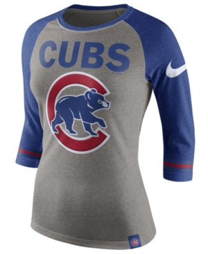 Women's Chicago Cubs 3/4 Sleeve Nike Raglan Tee