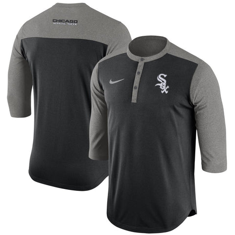 Men's Chicago White Sox Nike 3/4 Sleeve Henley Dri-Fit Tee