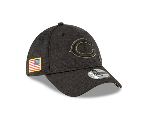 Men's Chicago Bears New Era Heather Black 2020 Salute to Service Primary Logo 39THIRTY Flex Hat