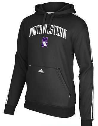 Northwestern Wildcats Adidas 3 Stripe Fleece Hoodie