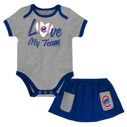 Infant Chicago Cubs Girls Sweet Save Creeper and Skirt Set