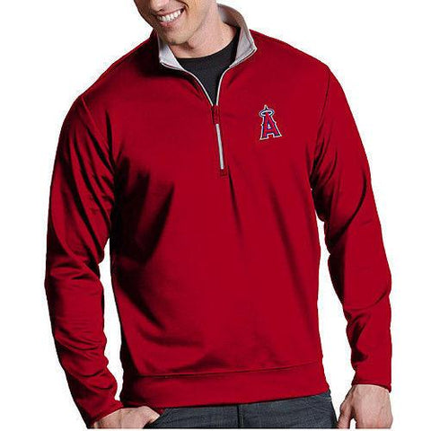 Antigua Men's MLB Los Angeles Angels Leader Red Quarter-Zip Pullover